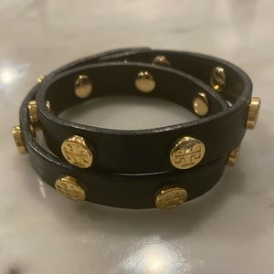 Tory Burch Wrap Black Studded Bracelet